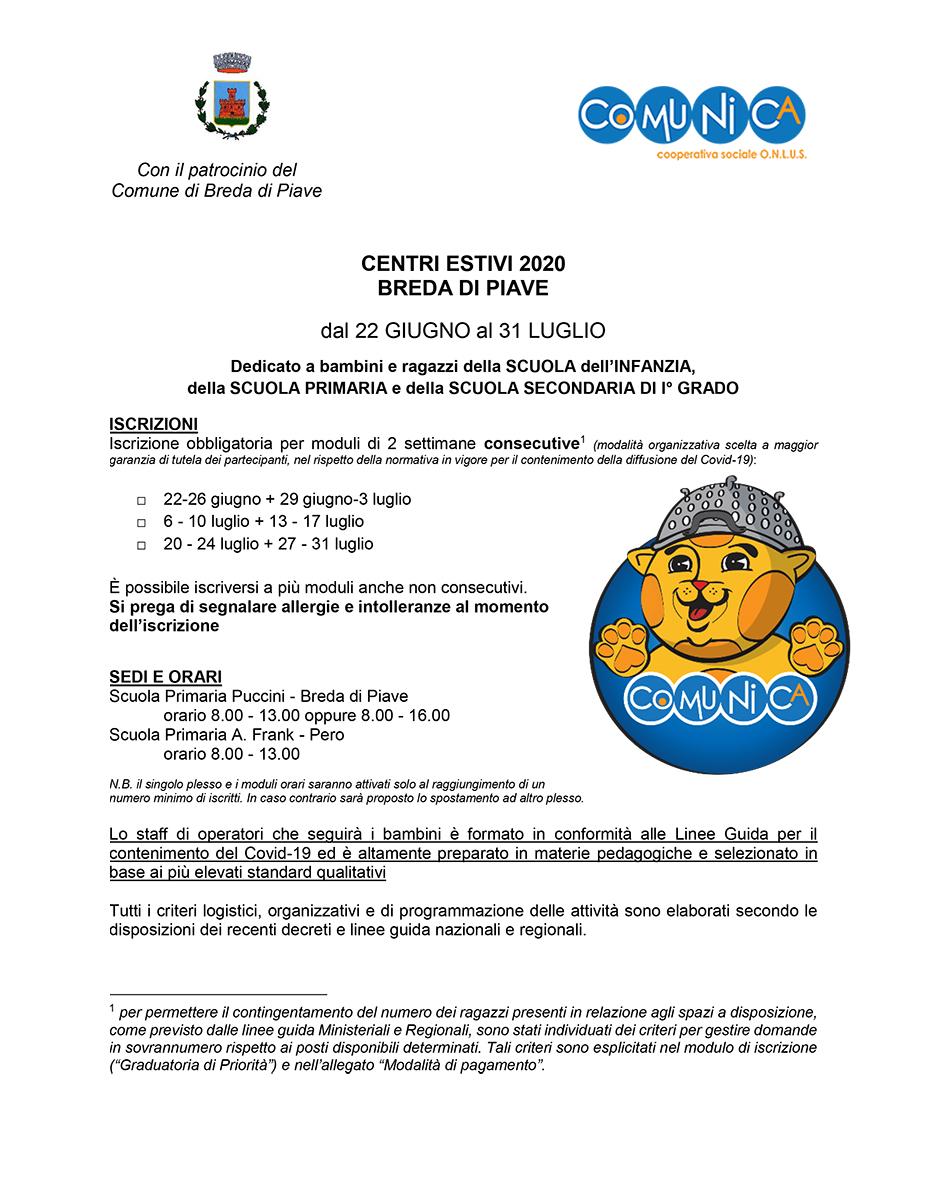 Informativa Centro Estivo Breda di Piave 2020 - 01