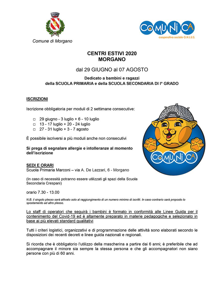 Informativa Centro Estivo Morgano 2020 - 01