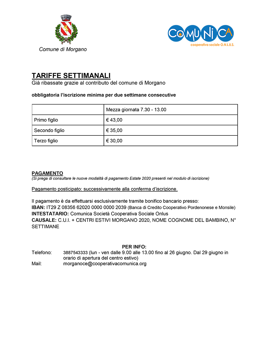 Informativa Centro Estivo Morgano 2020 - 02